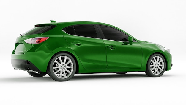Groene stadsauto met leeg oppervlak voor uw creatieve ontwerp d illustratie