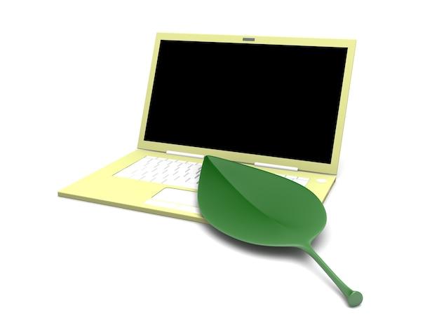 Groene technologie. een blad met een laptop. 3d teruggegeven illustratie.