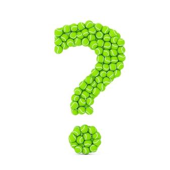 Groene tennisballen in de vorm van een vraagteken op een witte achtergrond. 3d-rendering