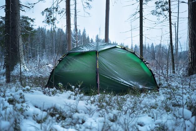 Groene tent in het bos. er viel verse sneeuw.