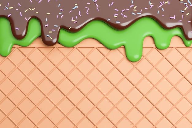 Groene thee en chocolade-ijs gesmolten op wafer achtergrond., 3d-model en illustratie.