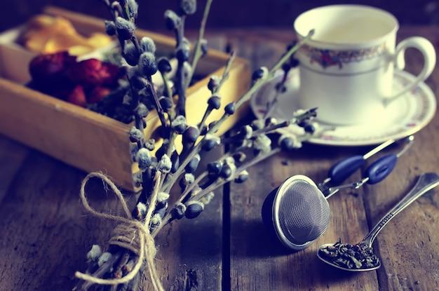 Groene thee houten roos groen