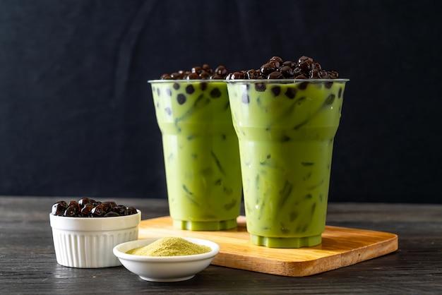 Groene thee latte met bubbel