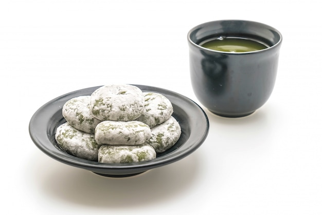 Groene thee mochi met rode boon