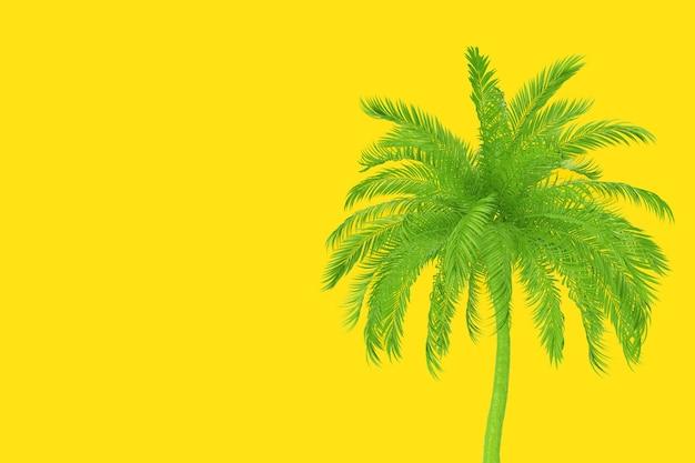Groene tropische palmboom in duotone stijl op een gele achtergrond. 3d-rendering
