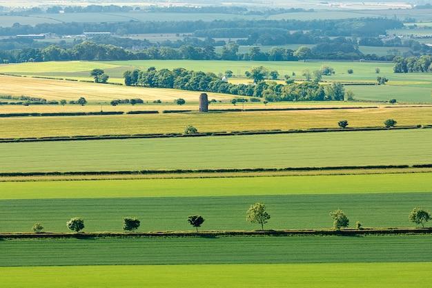 Groene velden en bossen van bovenaf in schotland