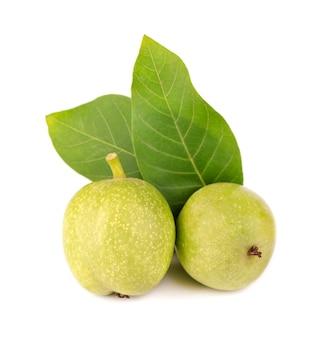 Groene walnoot, geïsoleerd op wit.