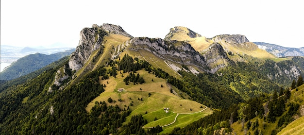Groene weide met grote bergen