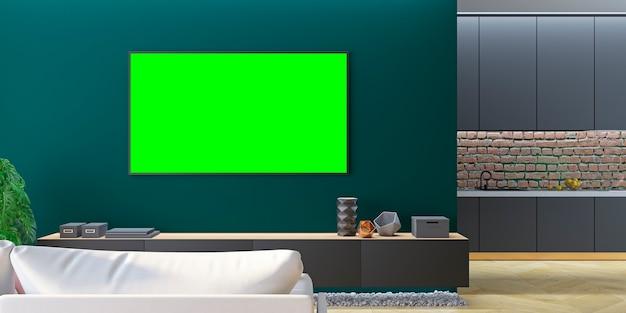 Groene woonkamer-tv met bank, keuken, console. 3d render illustratie.