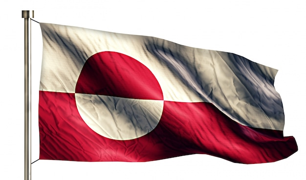 Groenlandse nationale vlag geïsoleerde 3d witte achtergrond