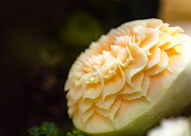 Groente en fruit snijwerk, display thaise fruit snijwerk decoratie