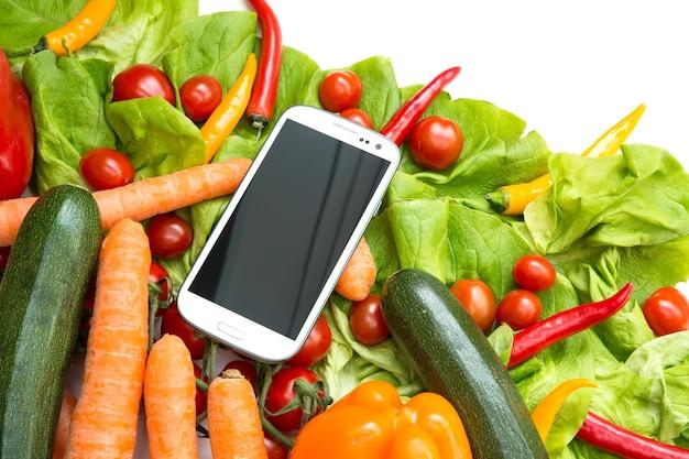 Groenten en een smartphone