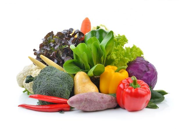 Groenten en fruit op wit