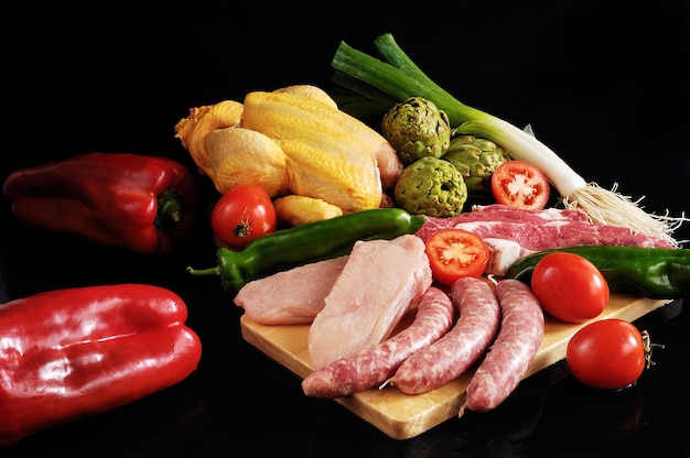 Groenten en vlees met kip en rundvlees
