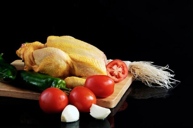 Groenten en vlees met kip