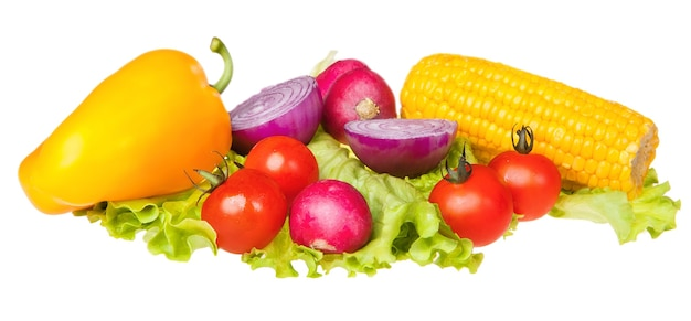 Groenten geïsoleerd op witte oogst