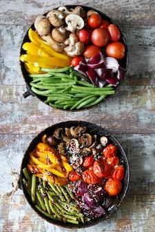Groenten in een pan voor en na het bakken. veganistisch gerecht.