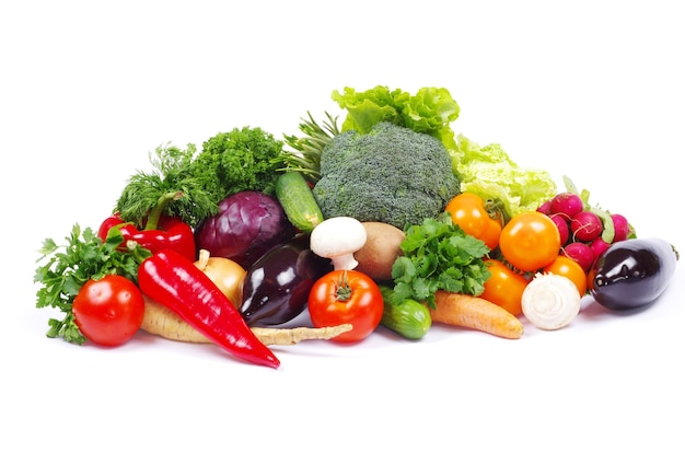 Groenten op de witte achtergrond