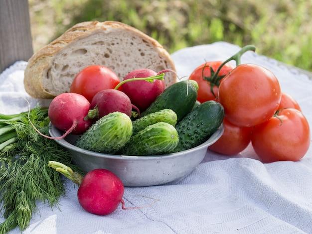 Groenten voor een picknick, tomaten, komkommers, radijs