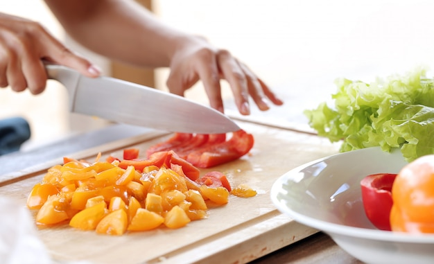 Groenten worden gesneden