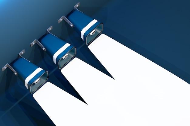Groep blauwe cartoon luidsprekers op een rode monochrome achtergrond.