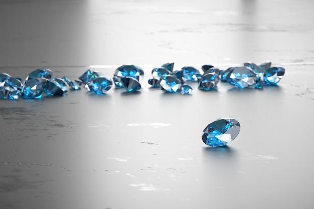 Groep blauwe diamantsaffier geplaatst op glanzend oppervlak, 3d-rendering