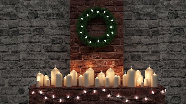 Groep brandende candless stands op open haard