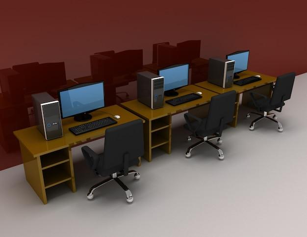 Groep computers met tafel. 3d gesterde illustratie