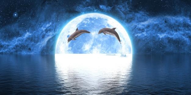 Groep dolfijnen die uit het water springen tegen de achtergrond van de grote maan, 3d illustratie