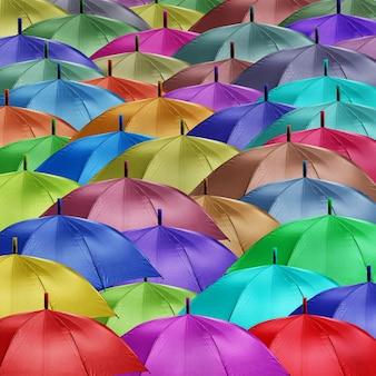 Groep gekleurde paraplu's