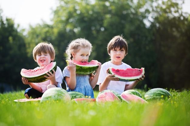 Groep gelukkige jonge geitjes die watermeloenen eten openlucht.