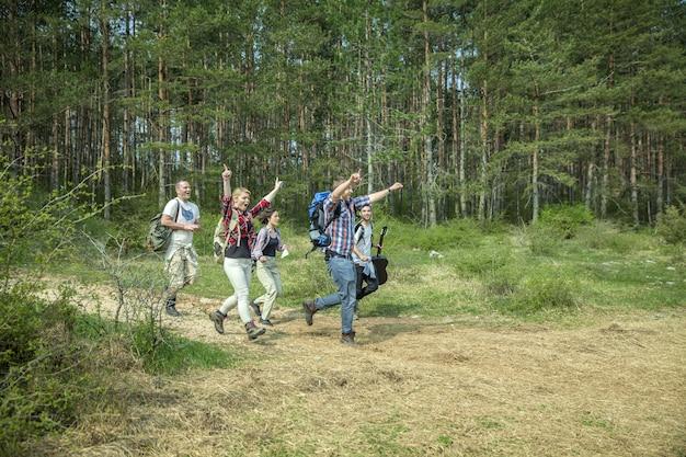 Groep gelukkige jonge vrienden met plezier in de natuur op een zonnige zomerdag