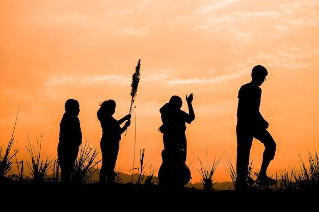 Groep gelukkige kinderen die op weide bij zonsondergang spelen, silhouet