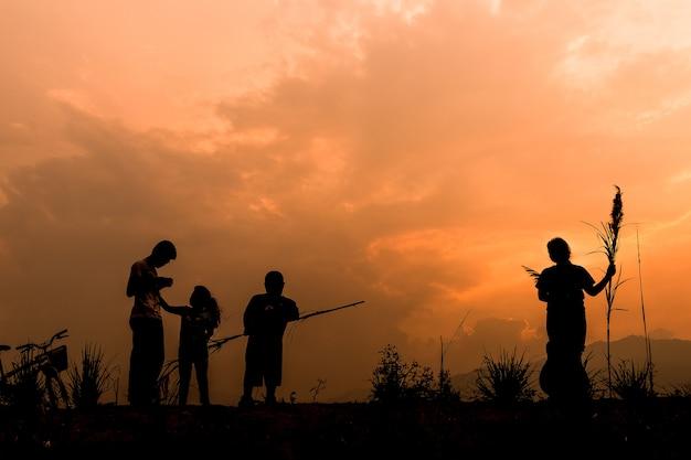 Groep gelukkige kinderen die op weide spelen bij zonsondergang, silhouet