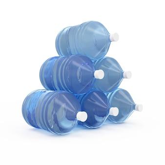 Groep grote flessen met water