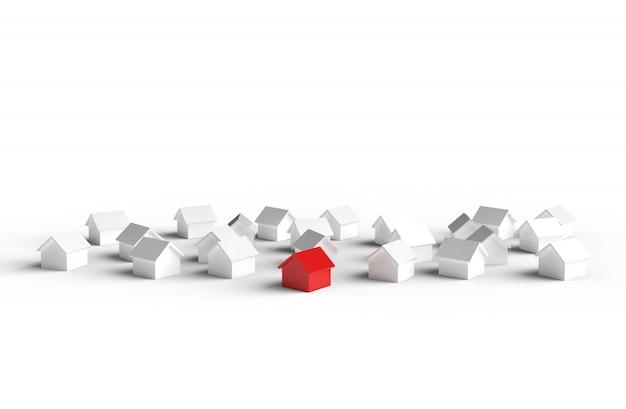 Groep huis op witte achtergrond wordt geïsoleerd die. 3d illustratie.