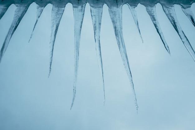 Groep ijskegels tegen een hemel van de de winteravond