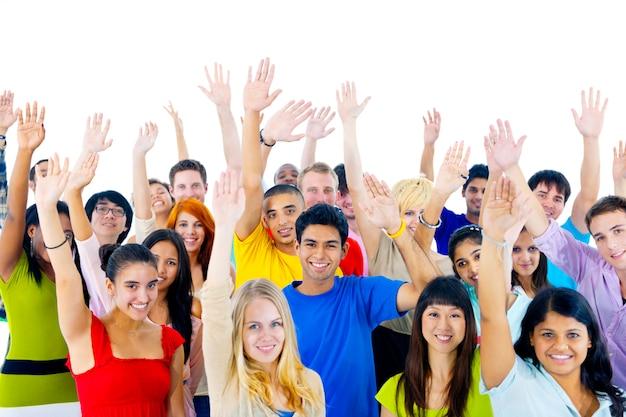 Groep jonge mensen van over de hele wereld