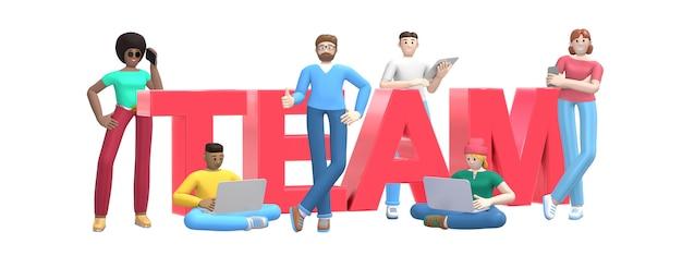 Groep jonge multi-etnische succesvolle mensen met laptop, tablet, telefoon en woordteam.