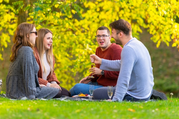 Groep jonge vrienden grappen maken en lachen terwijl ze genieten van een picknick in een park op een zonnige herfstdag