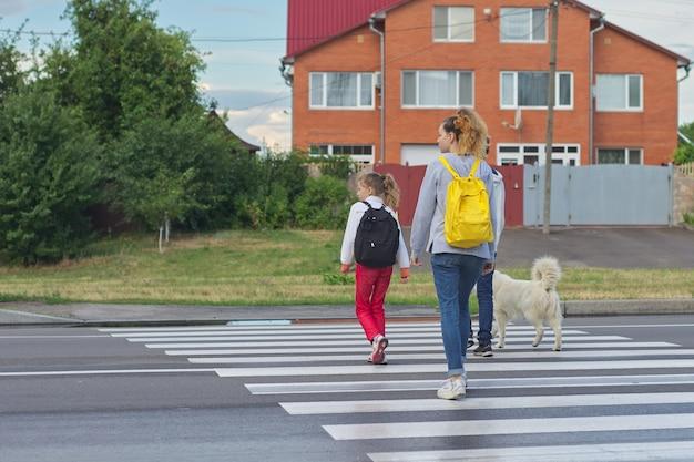 Groep kinderen die weg op zebrapad kruisen