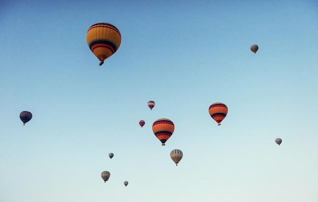 Groep kleurrijke hete luchtballons tegen een blauwe hemel