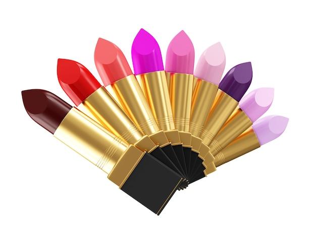 Groep kleurrijke lippenstiften geïsoleerd