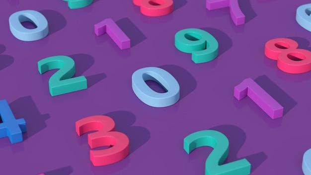 Groep kleurrijke nummers. paarse achtergrond, abstracte illustratie, 3d render, close-up.