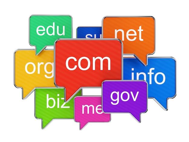 Groep kleurrijke toespraakbellen met domeinnamen