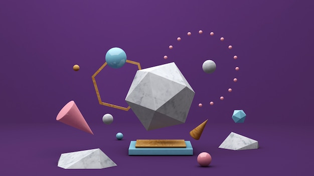 Groep kleurrijke vormen, paarse achtergrond. abstracte illustratie, 3d-rendering.