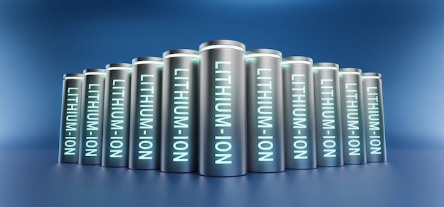Groep lithium-ionbatterijen met volledig opgeladen energieniveau, 3d-rendering li-ion neon-energieopslagapparaat machtsoplaadtechnologie illustratie