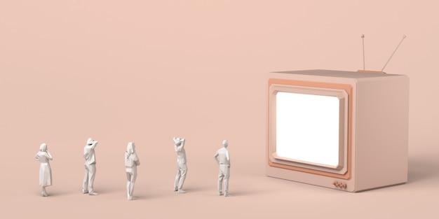 Groep mensen kijken naar een gigantische televisie. massa media. 3d illustratie. ruimte kopiëren.