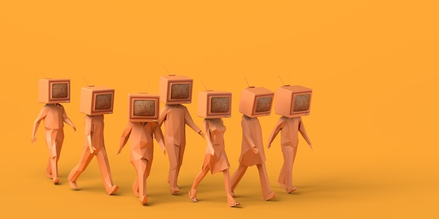Groep mensen lopen met een oude televisie in plaats van hoofd 3d illustratie ruimte kopiëren
