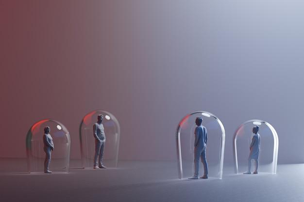 Groep miniatuurmensen met afstand tussen hen, pijlen die op vloer tussen 3d beeldjes worden getrokken geven terug